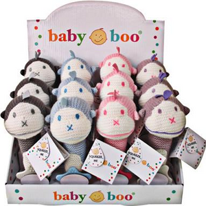 Baby Boo Knitted Grip Rattles - Pastel Monkey