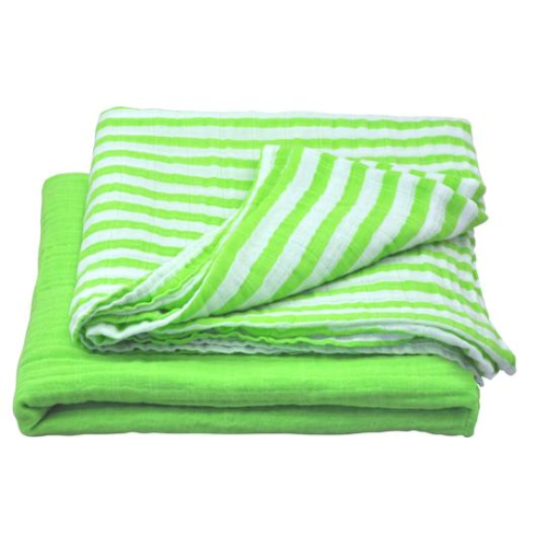 Muslin Swaddle Blanket made from Organic Cotton-Green Set-44