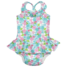 Ruffle Swimsuit w/Built-in Reusable Absorbent Swim Diaper-Light Aqua Paradise Flower