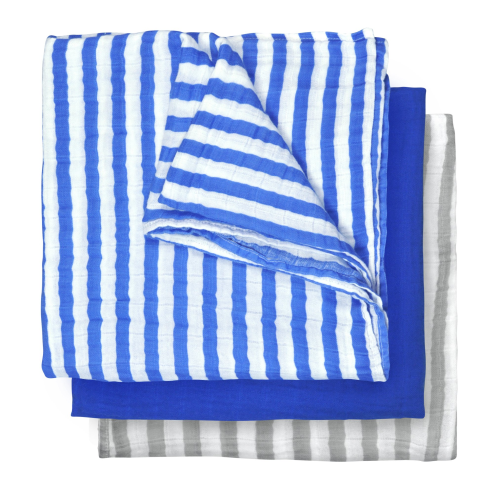 Green Sprouts Muslin Multi-purpose Cloths made from Organic Cotton (3pk)-Royal Blue Set-22