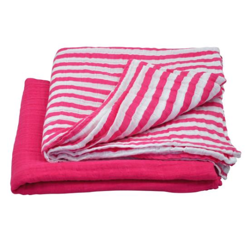 Muslin Swaddle Blanket made from Organic Cotton-Hot Pink Set-44