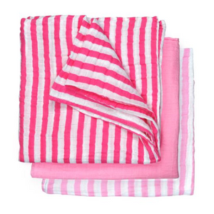 "Green Sprouts Muslin Multi-purpose Cloths made from Organic Cotton (3pk)-Hot Pink Set-22"" x 22"""