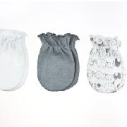 Playette Fashion Newborn Mittens 3 pack - Party Elephants