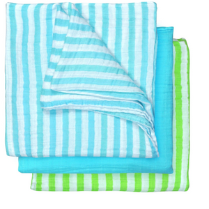 "Green Sprouts Muslin Multi-purpose Cloths made from Organic Cotton (3pk)-Aqua Set-22"" x 22"""