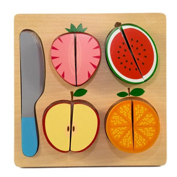 wooden square plate with wooden toy knife, half strawberry with velcro to secure halves, half watermelon, apple and orange.