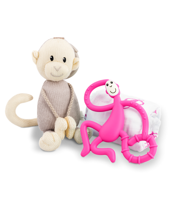 Matchstick Monkey - Teething Gift Set - Pink