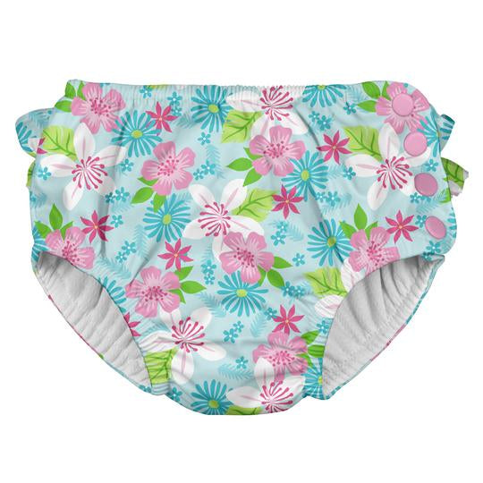 iPlay Ruffle Snap Reusable Absorbent Swim Nappy- Light Aqua Paradise Flower
