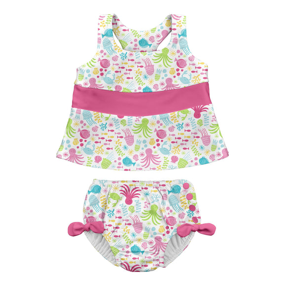 iPlay Bow Tankini Swimsuit Set with Snap Reusable Absorbent Swim Diaper