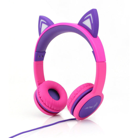 Cactus Kids Wired On-Ear Light-up Cat Headphones