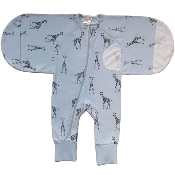 Plum Baby Swaddle Suit 0.5 TOG 2pk- Blue Giraffe