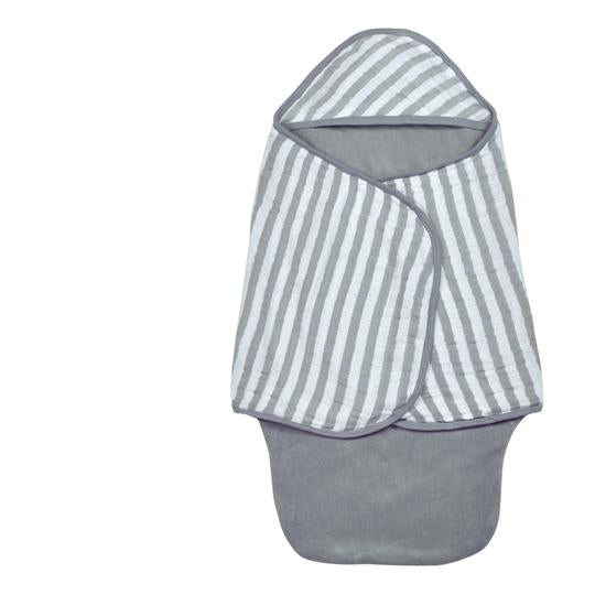 Green Sprouts Muslin Baby Bath Swaddle made from Organic Cotton-Gray- 0/6mo