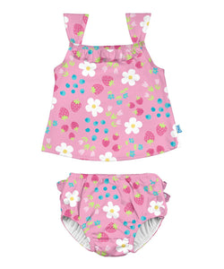 Ruffle Tankini Swimsuit Set with Snap Reusable Absorbent Swim Diaper - Light Pink Daisy Fruit