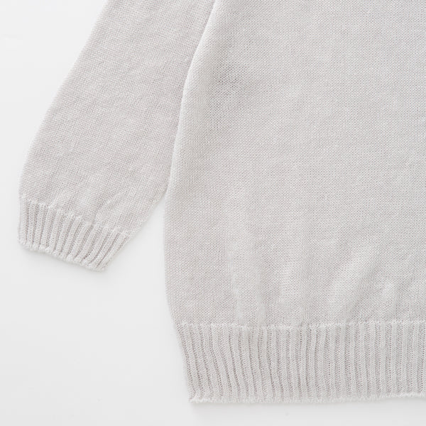 100% Linen Simple & Stylish Lightweight Ash-White Ladies Pullover