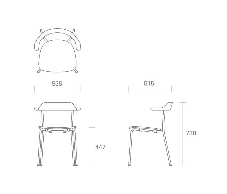 Hiroshima Stackable Arm Chair - Wooden Seat Dining Chair