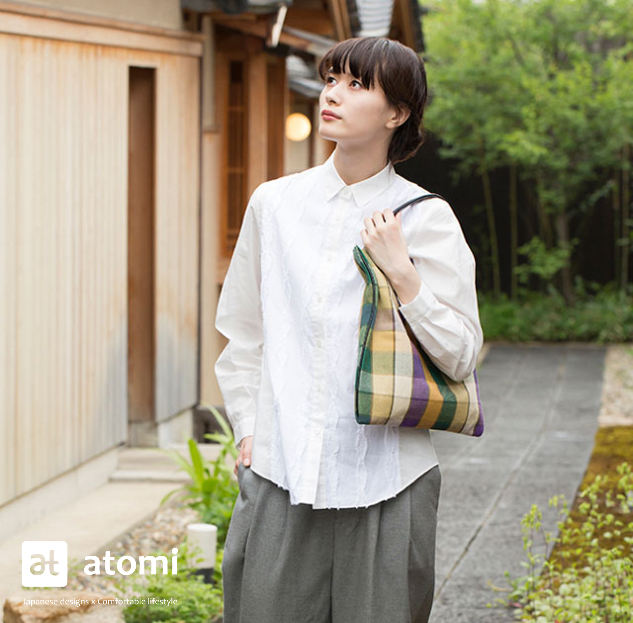 Ichimatsu Checkered Top Handle Tote Bag