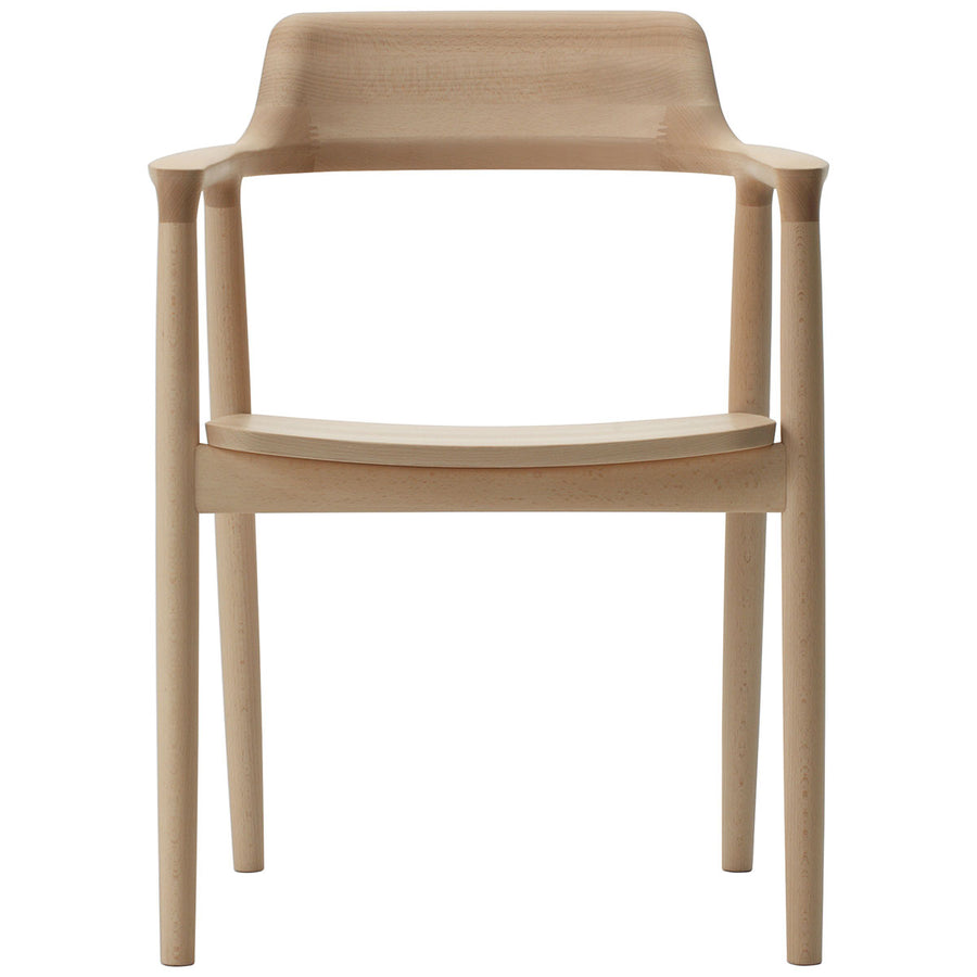 Hiroshima Arm Chair - Wooden Seat Dining Chair - Beech Wood