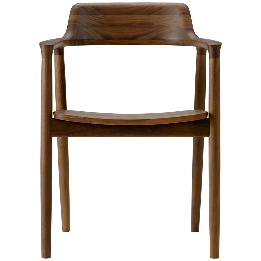 Hiroshima Arm Chair - Wooden Seat Dining Chair - Walnut Wood