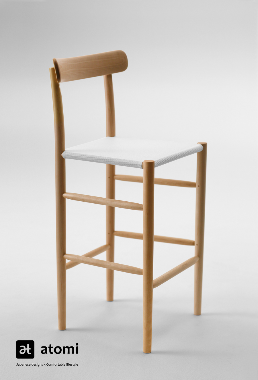 Lightwood Bar Chair - Mesh / Webb Seat - atomi shop