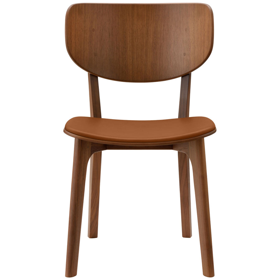 Roundish Chair - Leather Cushioned Seat Dining Chair