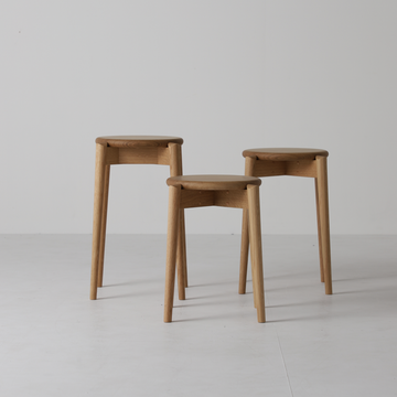 White Wood Stool - Wooden seat