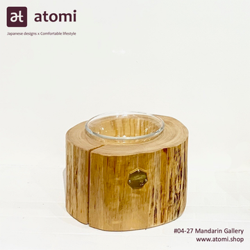 Natural Japanese Hiba Wood Pet Table with Glass Bowl - atomi shop