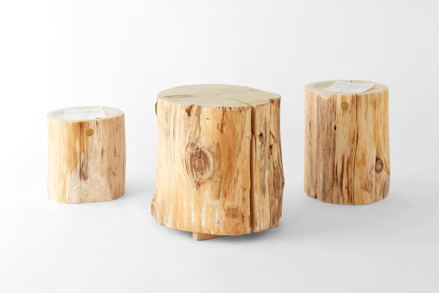 Natural Japanese Hiba Wood Rounded Stool - atomi shop