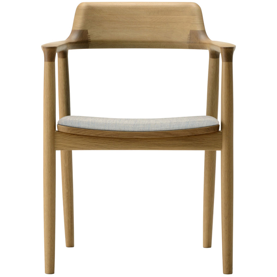 Hiroshima Arm Chair - Fabric Cushioned Seat Dining Chair - Oak Wood