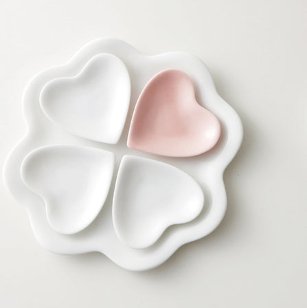 Ceramic Classic Leaf and Heart Plates