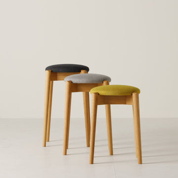 White Wood Stool - Fabric cushioned seat