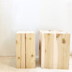 Natural Japanese Hiba Wood Squared Stool