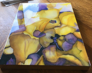 "Abstract floral watercolor giclee on 18"" x 24"" wood panel, under resin and signed"