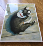 Boston Terrier -- Giclee print on panel