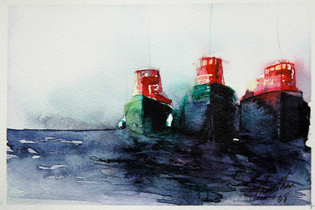 Tugs -- Giclee print on panel