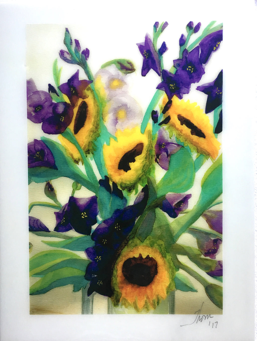 Sunflowers -- Giclee print on panel