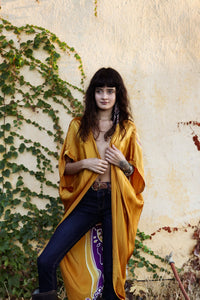 "SILK GOLD COLOR BATIK ATABEY CAPE ""KIMONO"""