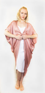 "SILK ROSE QUARTZ COLOR BATIK ATABEY CAPE ""KIMONO"""