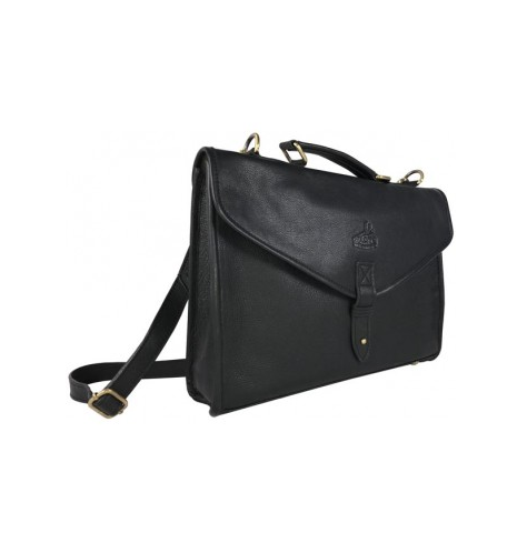 Adam Brief Case Fine Leather Black