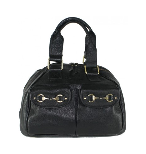 Andrea Riding Hat Bag In Fine Leather Black