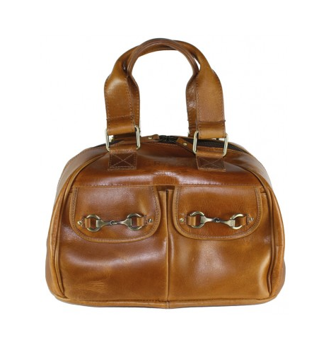 Andrea Riding Hat Bag In Natural Leather Tan