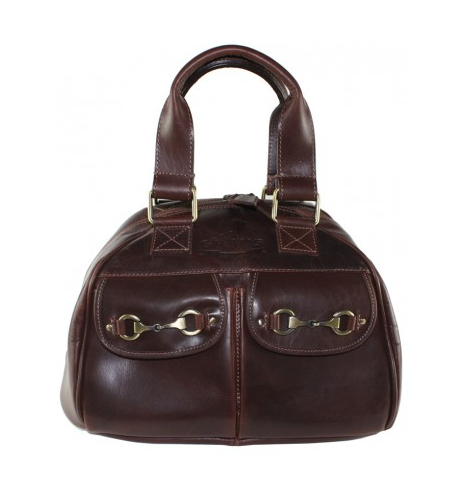 Andrea Riding Hat Bag In Natural Leather Brown