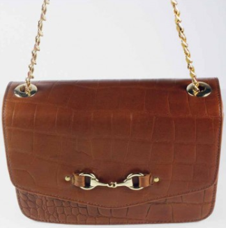 Elizabeth Evening Bag Crocodile Dk Tan