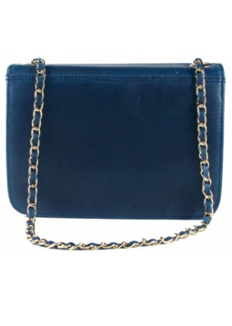 Elizabeth Evening Bag In Natural Leather Blue