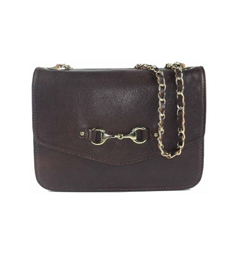 Elizabeth Evening Bag In Fine Leather Brown