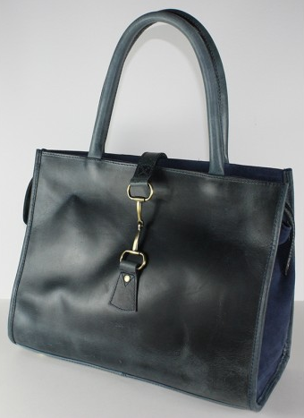 Alice Bag In Natural Leather/suede Distressed Blue