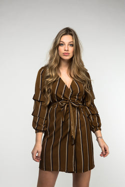 Stripe Wrap Front Tie Waist Dress