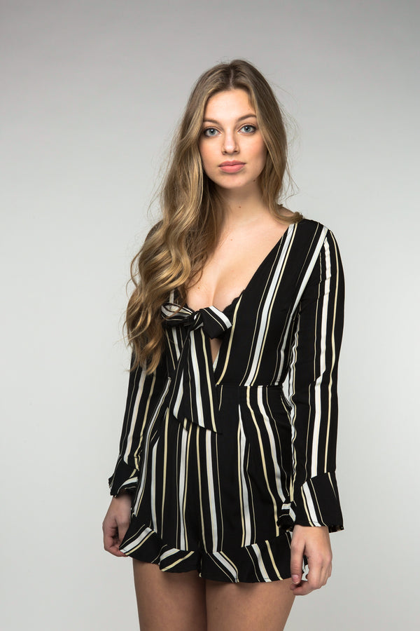 Stripe Frill Hem Playsuit