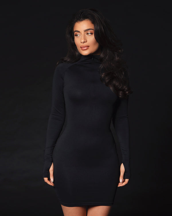 Long Sleeve Zip Up Dress