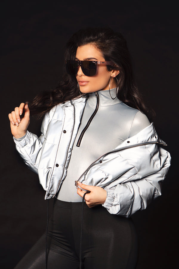 Reflective Cropped Puffer Jacket