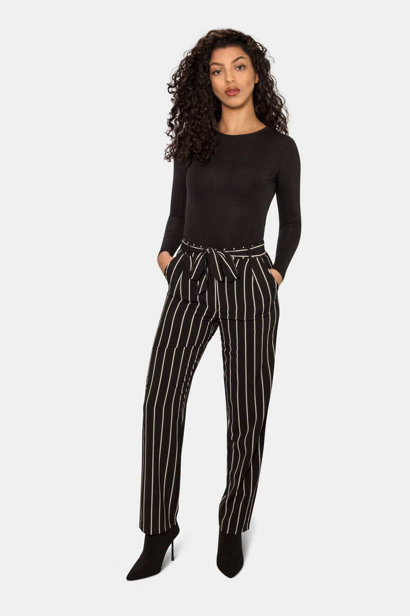 Striped Belt Waist Trousers