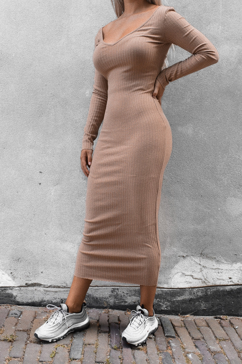 Bardot Ribbed Dress Beige